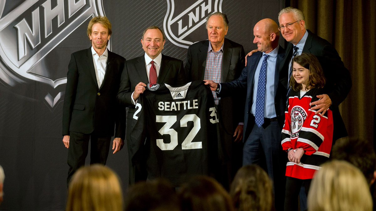 6bc9bc243 The first-ever jersey in  NHLSeattle history was presented as a gift to  NHL  Commissioner Gary Bettman on the day the franchise was awarded