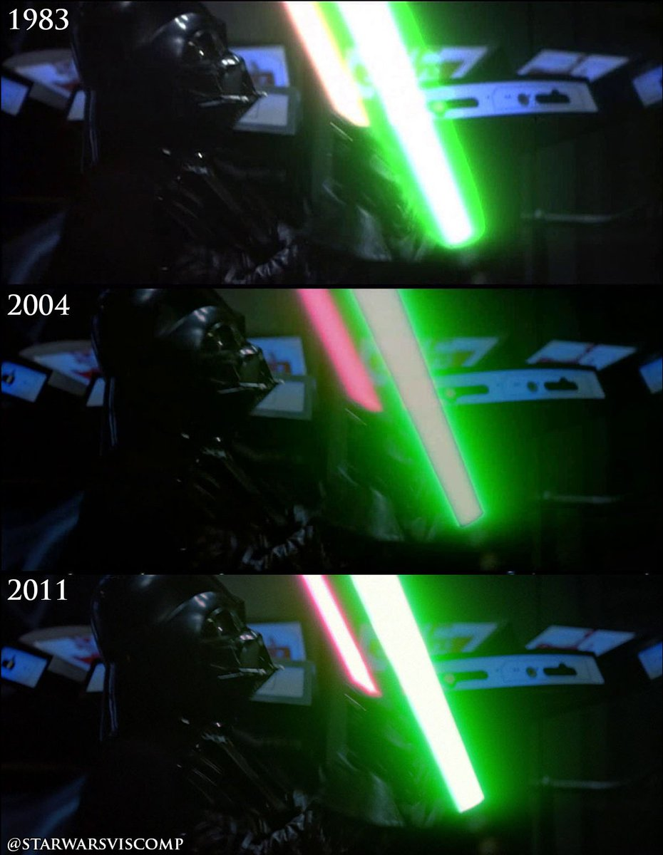 Star Wars Visual Comparisons On Twitter The Lightsabers In This Shot Have Been Given Better Digital Cores In The Blu Ray Though The Glows Are Identical 2004 2011 Starwars Rotj Https T Co Kewhpptfwu
