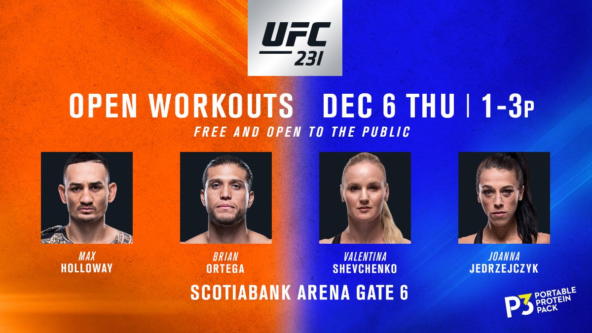 THURSDAY! #UFC231 Open Workouts are LIVE & FREE from @ScotiabankArena! Come say 👋 to the main & co-main! B2YB @P3Protein