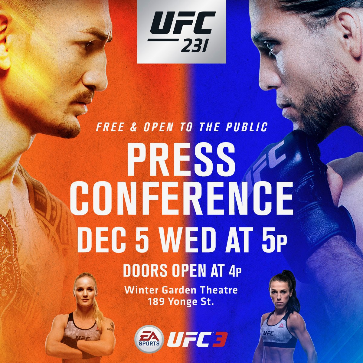 I'm so excited to be back in Toronto!!! Today's press conference with @BlessedMMA vs @BrianTcity and @BulletValentina vs @joannamma is FREE and OPEN to the public at Winter Garden Theatre! See u there!
