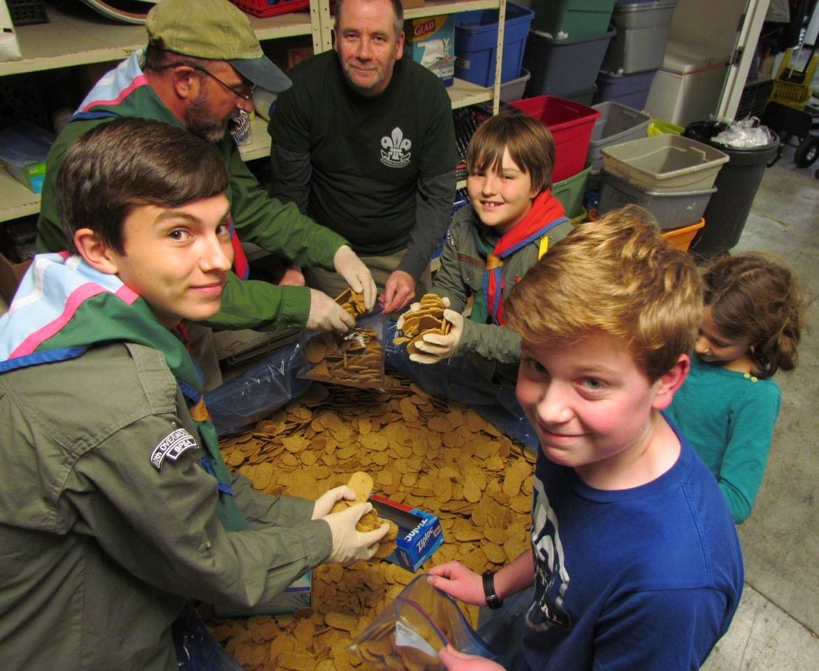 Adults and youths from the 80th Overmountain scout group (Virginia) spent 2.5 hours yesterday at  Ecumenical Faith In Action's food pantry bagging and boxing donations  that fed 209 families in need of food assistance. #service #scoutingforall #equity #scouting