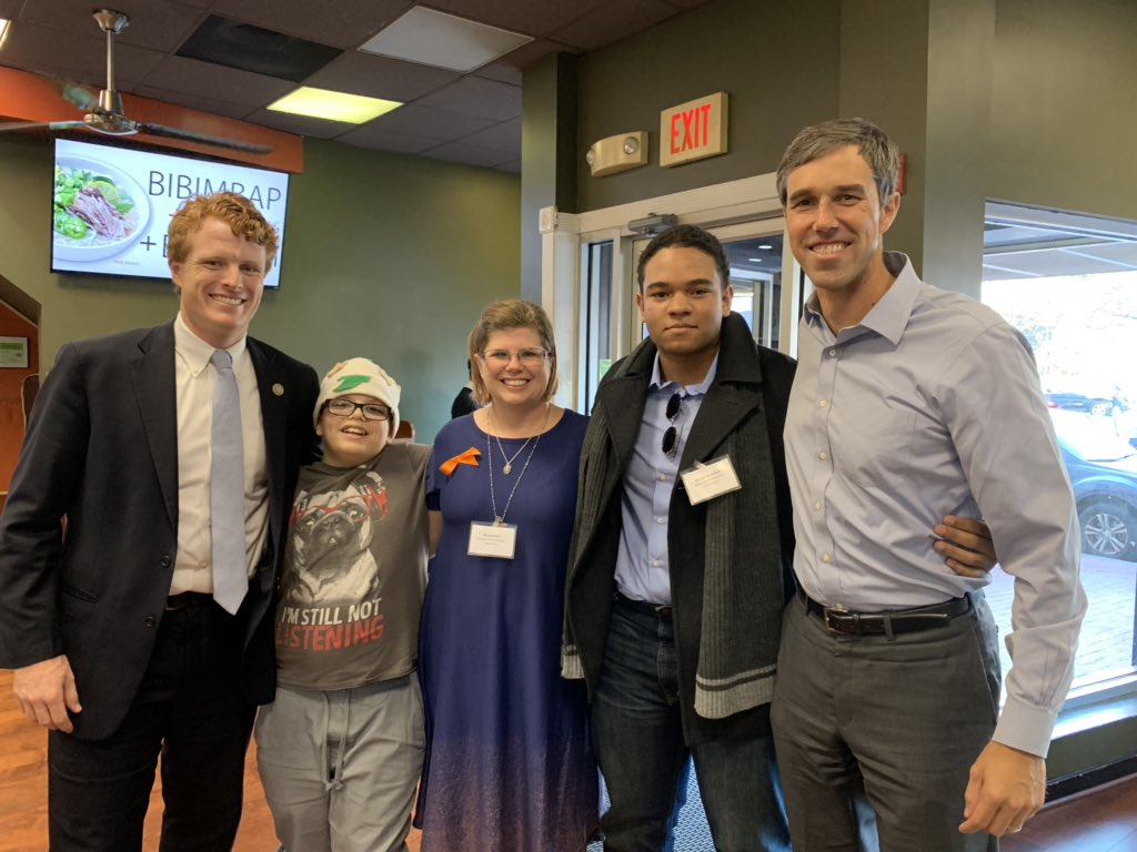 """So great to join @RepJoeKennedy to spend some time with  @KimsMom3 and @MarcelMcClinton and Tyler who says """"it's nice to give you a hug now that you're not all sweaty!"""" Grateful to see all of you!!<br>http://pic.twitter.com/E2RJwZZKmF"""