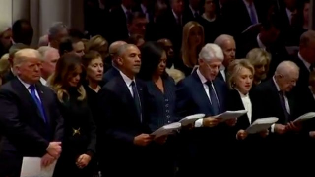WATCH: Trump does not join past presidents in reading Apostles' Creed at Bush funeral https://t.co/q92gajtb5l https://t.co/gj4KaRZvEF