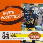 WR @emanuelhall from @MizzouFootball has officially accepted his invitation to the 70th Reese's Senior Bowl! #SeniorBowl #CompeteAndConnect #NFLTraditionInMobile