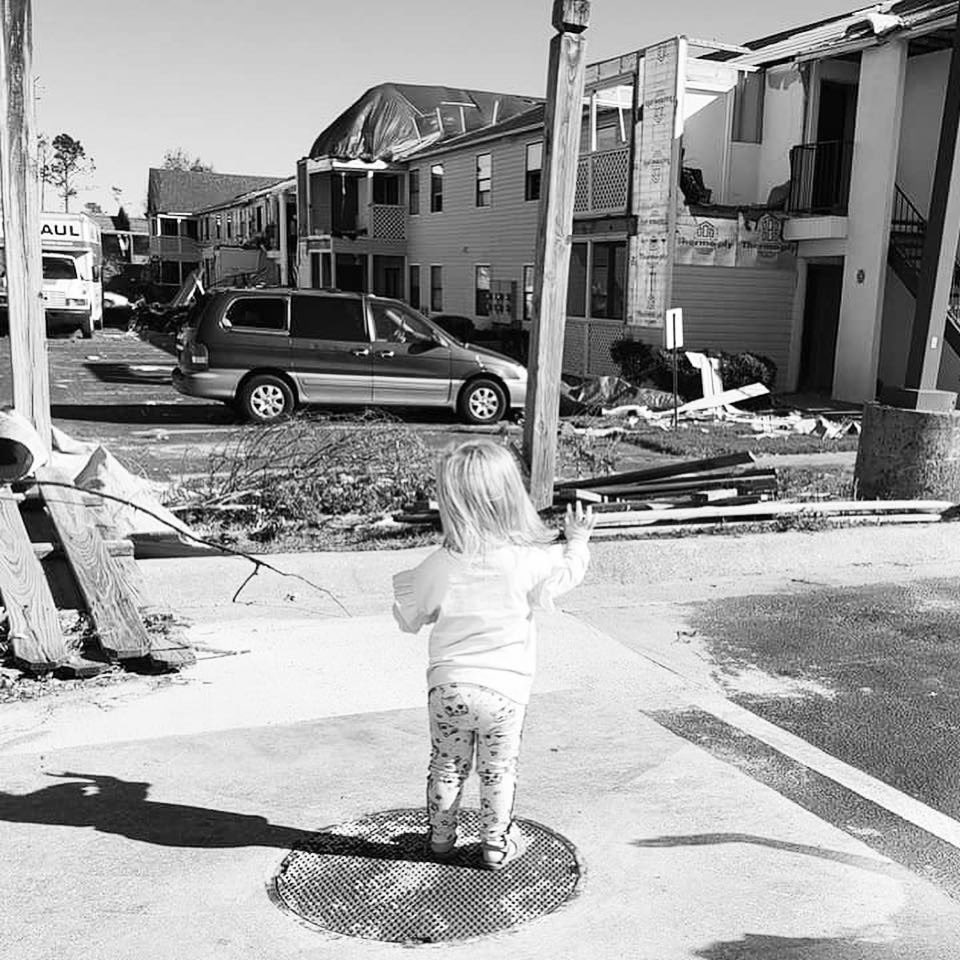 "Hurricane Michael destroyed our town. Our two year old little girl said ""goodbye"" to the only home she's ever known. 10/10/2018 #HurricaneMichael #PanamaCity<br>http://pic.twitter.com/mdNYXqwZLe"