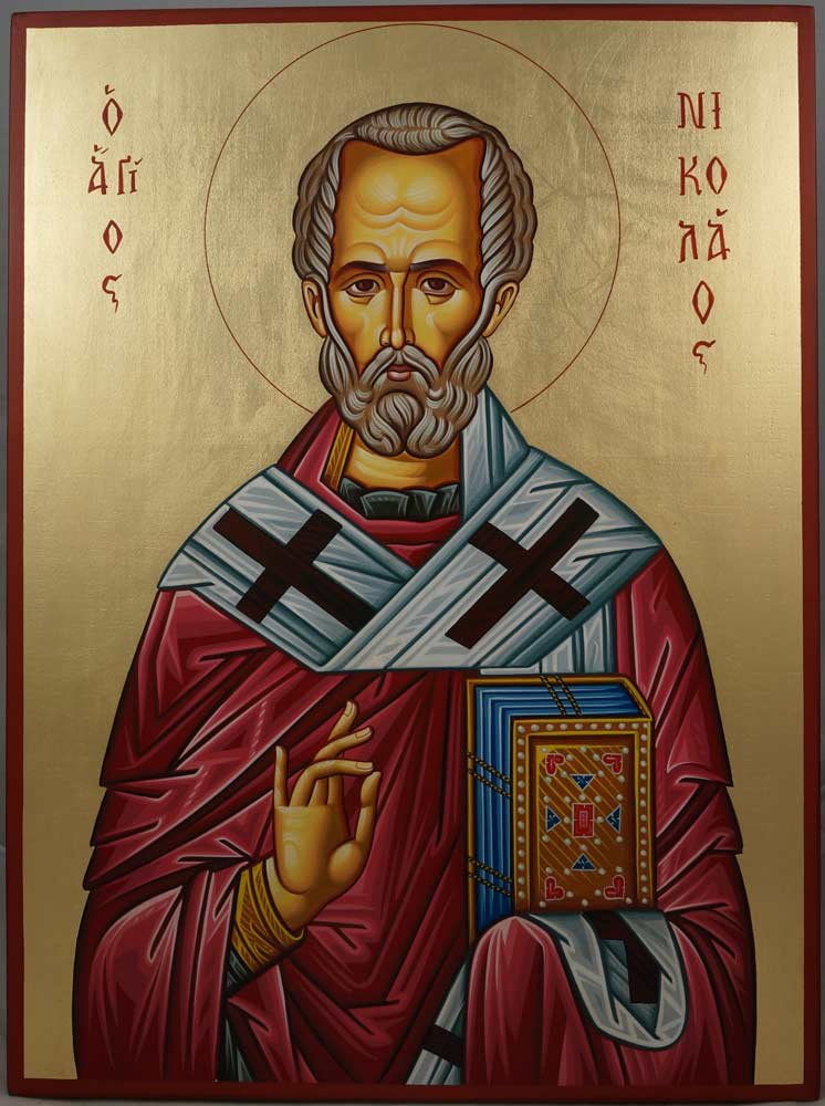 Today is the Feast of St. Nicholas of Myra, Defender of Orthodoxy and Wonderworker. Present at the First Council of Nicaea, tradition has it that he became so angry with the heretic Arius during the Council that he struck him in the face. Ora pro nobis <br>http://pic.twitter.com/qmcLtR1ZWi