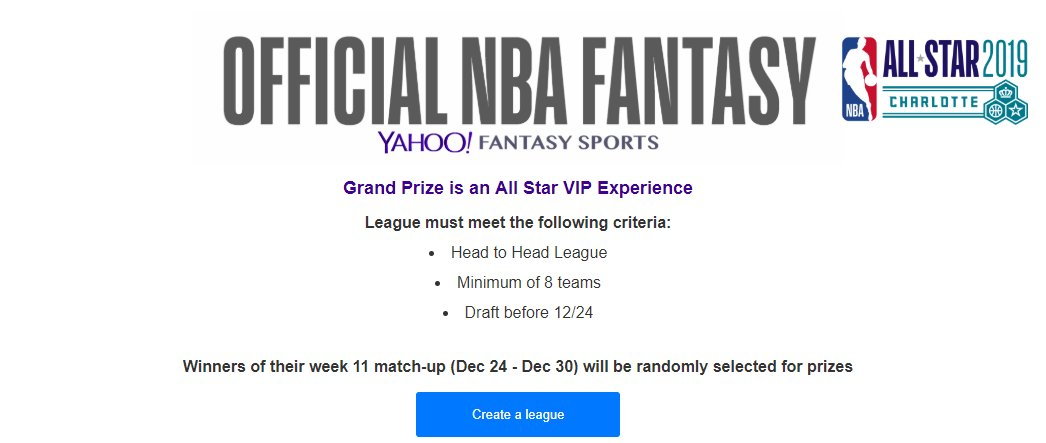 Do you want to go to the @NBAAllStar game?? We're here to help you get there.  All you have to do is win your week 11 @YahooFantasy #NBAFantasy matchup and you will be entered to win the trip of a lifetime!  Not in a league yet? That's OK. Just join @ http://NBA.com/Playfantasy
