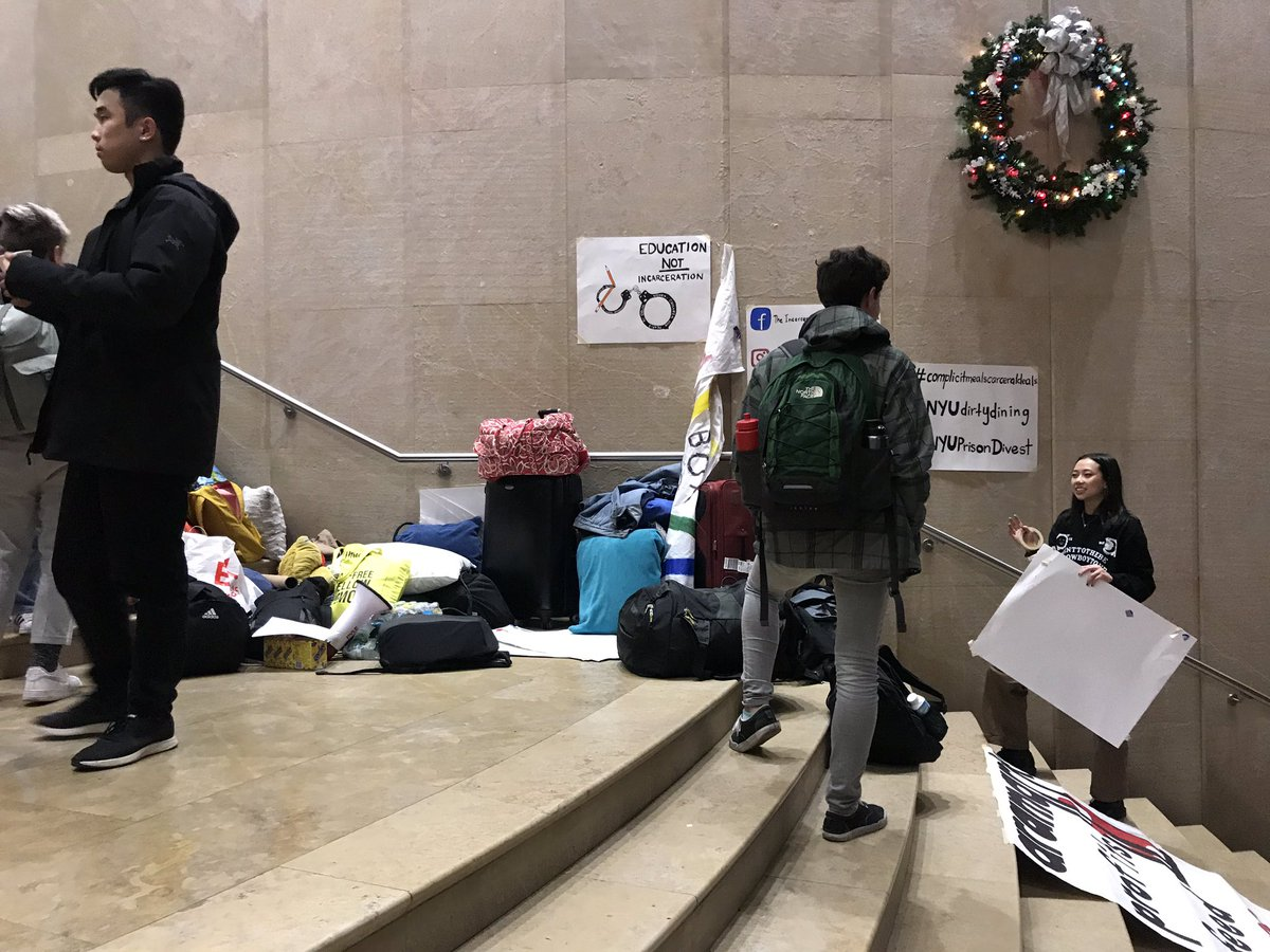 In response to a lack of cooperation from NYU admin, IEC has now escalated to occupy the Kimmel staircase overnight <br>http://pic.twitter.com/gkFB4AAcOa