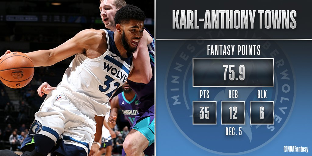 😼😼😼 An early contender for #FantasyPlayeroftheNight, Karl-Anthony Towns had a HUGE night for the @Timberwolves! #NBAFantasy