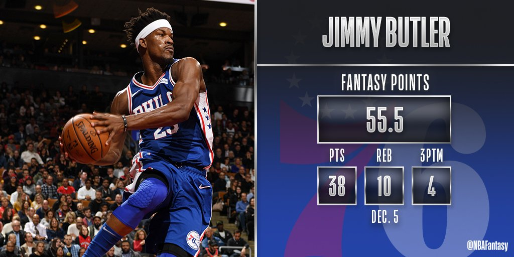 Jimmy Butler with a huge scoring output & double-double for the @sixers tonight in Toronto. #NBAFantasy
