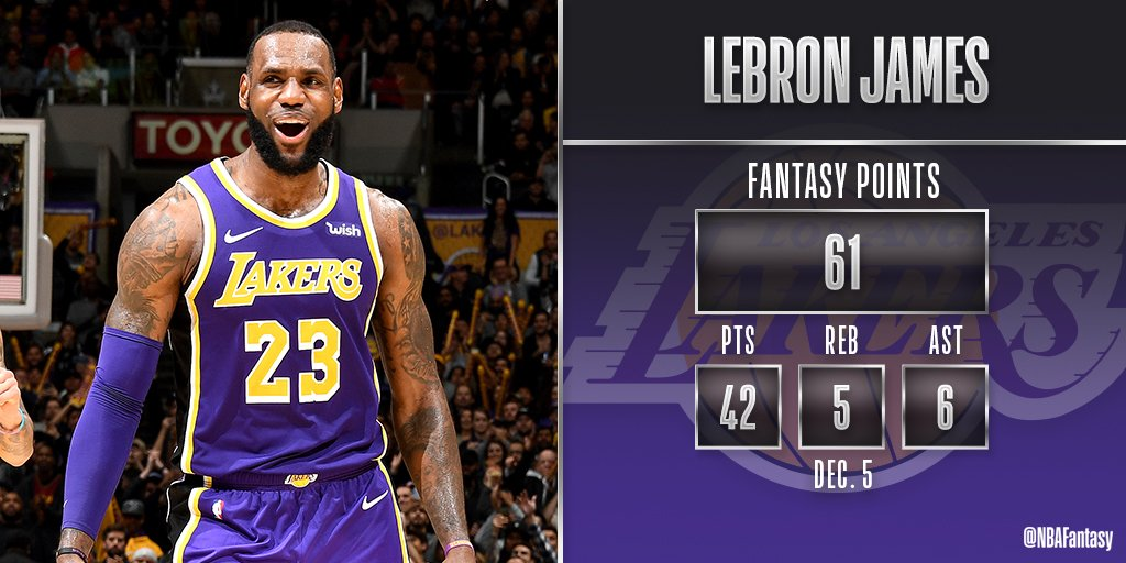 LeBron James had 20 points in the 4th quarter (7/8 FG, 3 3PTM) en route to leading the @Lakers to a 121-113 victory over San Antonio! #NBAFantasy
