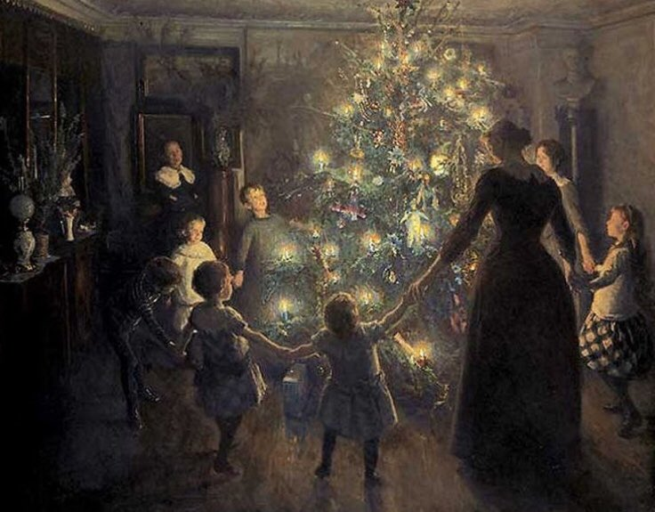 A popular #Victorian #Christmas tree decoration was a small glass pickle. This harked back to a medieval Spanish legend, wherein St Nicholas rescued two boys who had been nailed into a pickle jar. 6th Dec is #SaintNicholasDay #FolkloreThursday  Glade Jul, Viggo Johansen, 1891<br>http://pic.twitter.com/s4waObGmnG