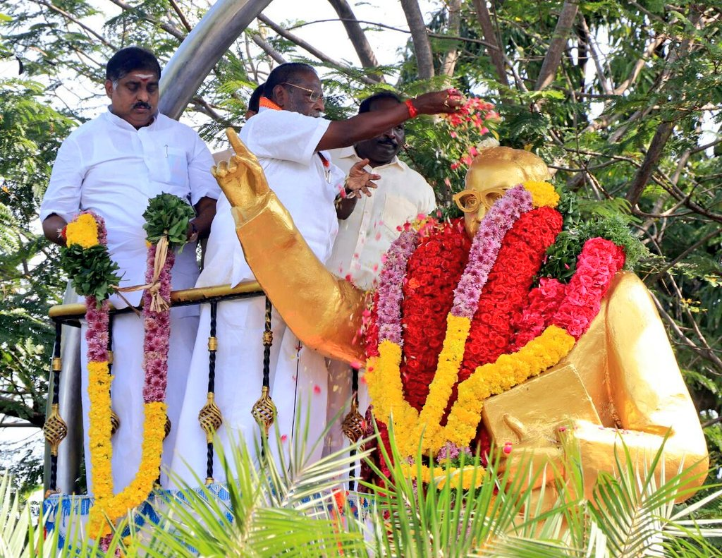 Earlier today, HCM @VNarayanasami pays tribute to #BharatRatna #BabasahebAmbedkar on  #MahaparinirvanDiwas .