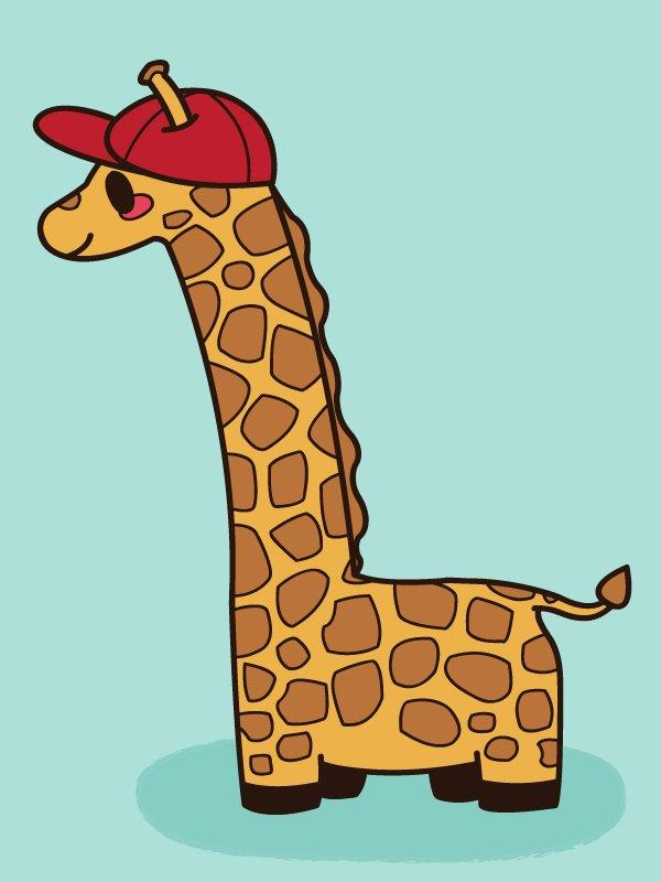 giraffe in a red cap