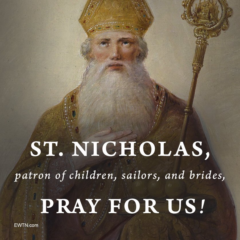 St Nicholas is the patron of children and of sailors. His intercession is sought by the shipwrecked, by those in difficult economic circumstances, and for those affected by fires.  https://www. catholicnewsagency.com/saint/st-nicho las-of-myra-75 &nbsp; …  #EWTN #Catholic #prayforus<br>http://pic.twitter.com/6JUpF2QTpB