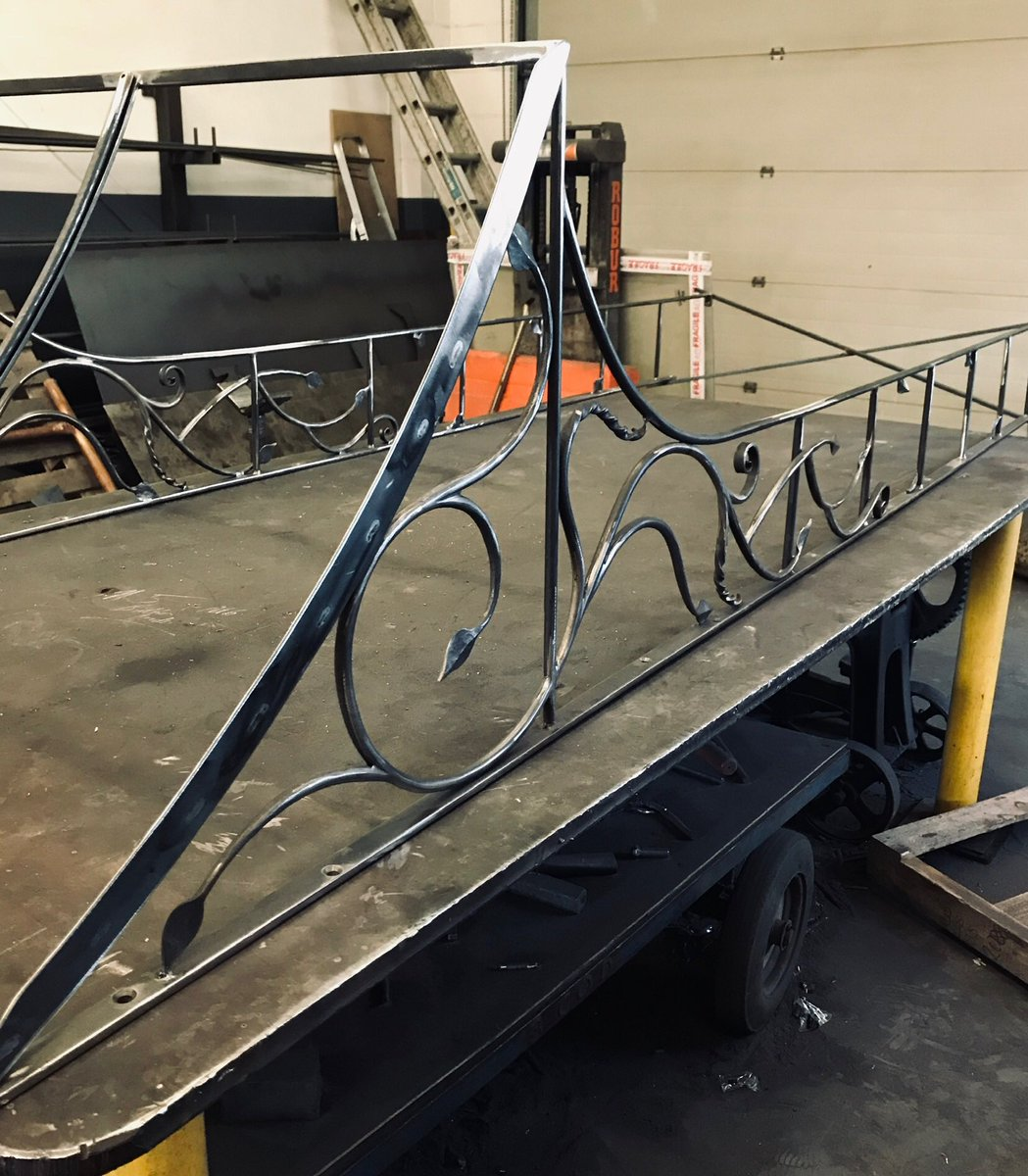 Simple Door Canopy  Feature scrolled leaves and tendrils, a Zinc roof will be attached after it has been galvanised.  The design is taken from a very simple gate I designed and made in my first year of Blacksmithing, for my mother, and this piece is also for her. @KvBlacksmith