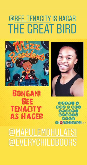 And Yours Truly will be playing Hagar the Great Bird at #AbantuBookFest for the live perfoemance reading of Mizz President by @3rdBombadil!!! @Abantu_ Photo