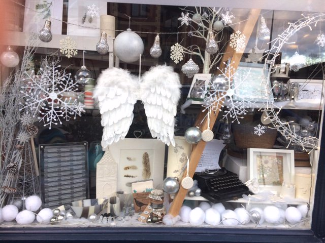 Our own Winter wonderland window #handmadechristmas #craft #shoplocal #Roath #textiles #ceramics #glass #illustration with @helenlushartist @suzidoreydesign @lisa_tann @ruthharriesfibr @AnnaPalamar @VicciMurray @hilaryroberts37 @EllyMentalJewel @hannahnunnlamps