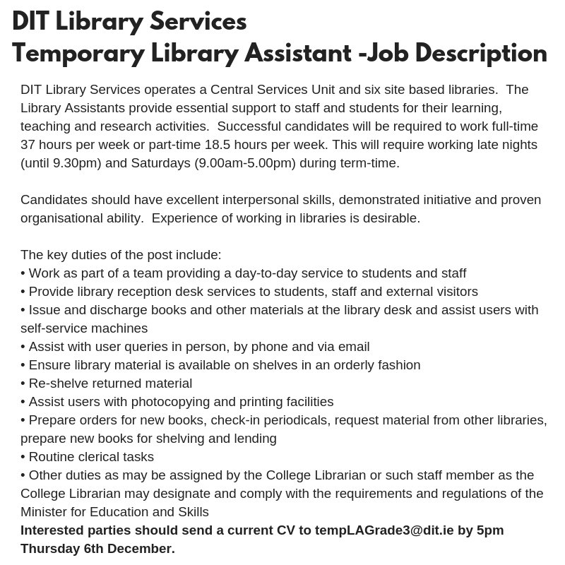 Dit Aungierstlibrary On Twitter Today Is The Last Day To Send In