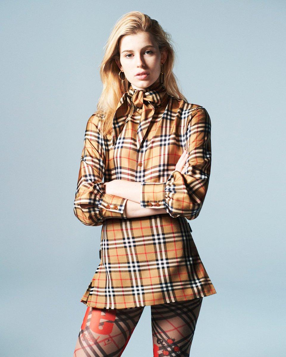 e9692de069 ... Claudia wears the Vintage Check Silk Shirt and the Vintage Check Wool Mini  Skirt. Shop the collection now http://brby.co/7hl pic.twitter.com/xcg4jT3Eei