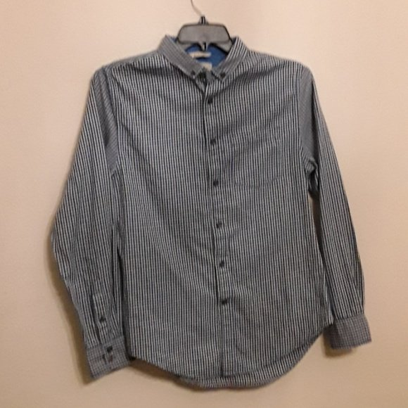 NWT Mens blue plaid JACHS casual flannel shirt button front cotton modern XL