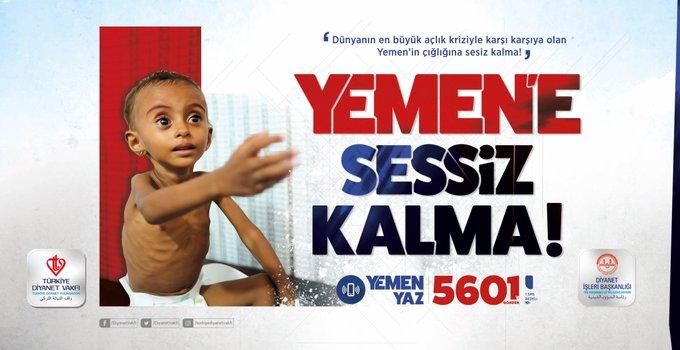 #YemeneSessizKalma kampanyasıyla, milletimizi hep beraber daha güçlü şekilde, Yemen'e yardım etmeye ve insanlığın vicdan yükünü taşıma seferberliğine davet ediyorum. Tarih boyunca mazlumların yanında olan milletimiz kuşkusuz Yemen'in çığlığına da sessiz kalmayacaktır. Fotoğraf