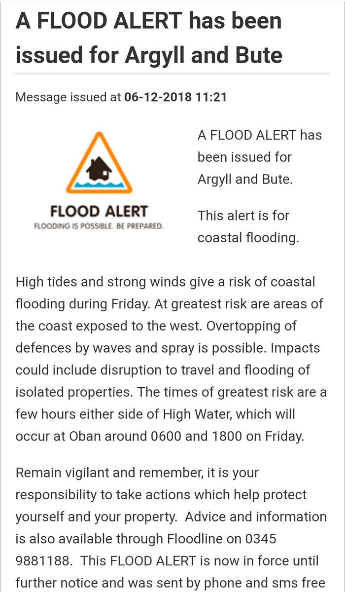 """Isle of Bute Resilience Team on Twitter: """"Sepa have issued a flood alert  for Argyll & Bute with risk of Costal flooding due to tidal surge with high  winds forcast.… https://t.co/3n7Kbz8WyD"""""""