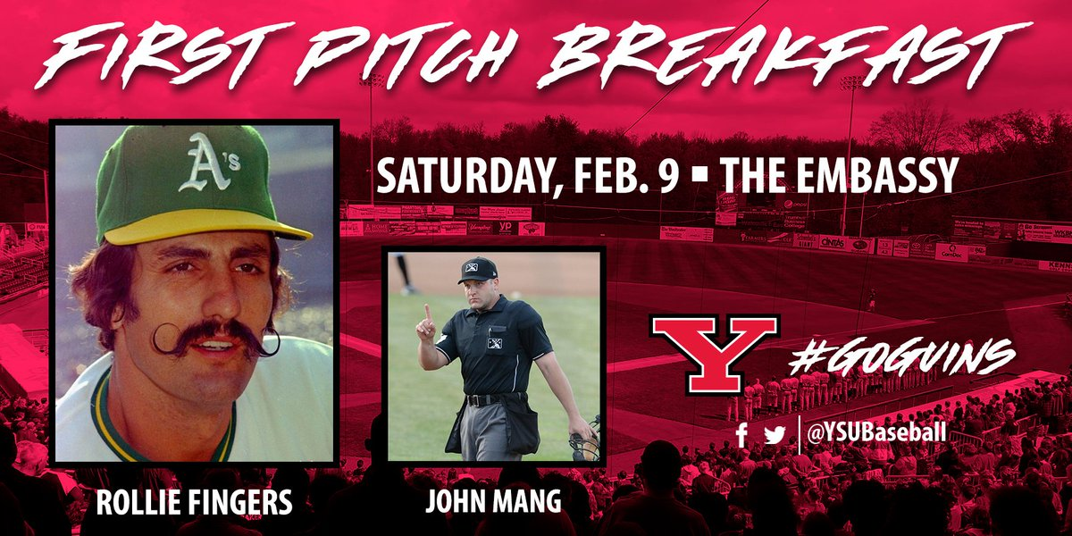 We're excited to announce Rollie Fingers as our featured speaker for the 2019 YSU Baseball First Pitch Breakfast on Feb. 9 at The Embassy in Boardman!  Fingers will be joined by Mahoning Valley native and Minor League Baseball umpire John Mang.  Release: http://ysusports.com/x/6ri5v