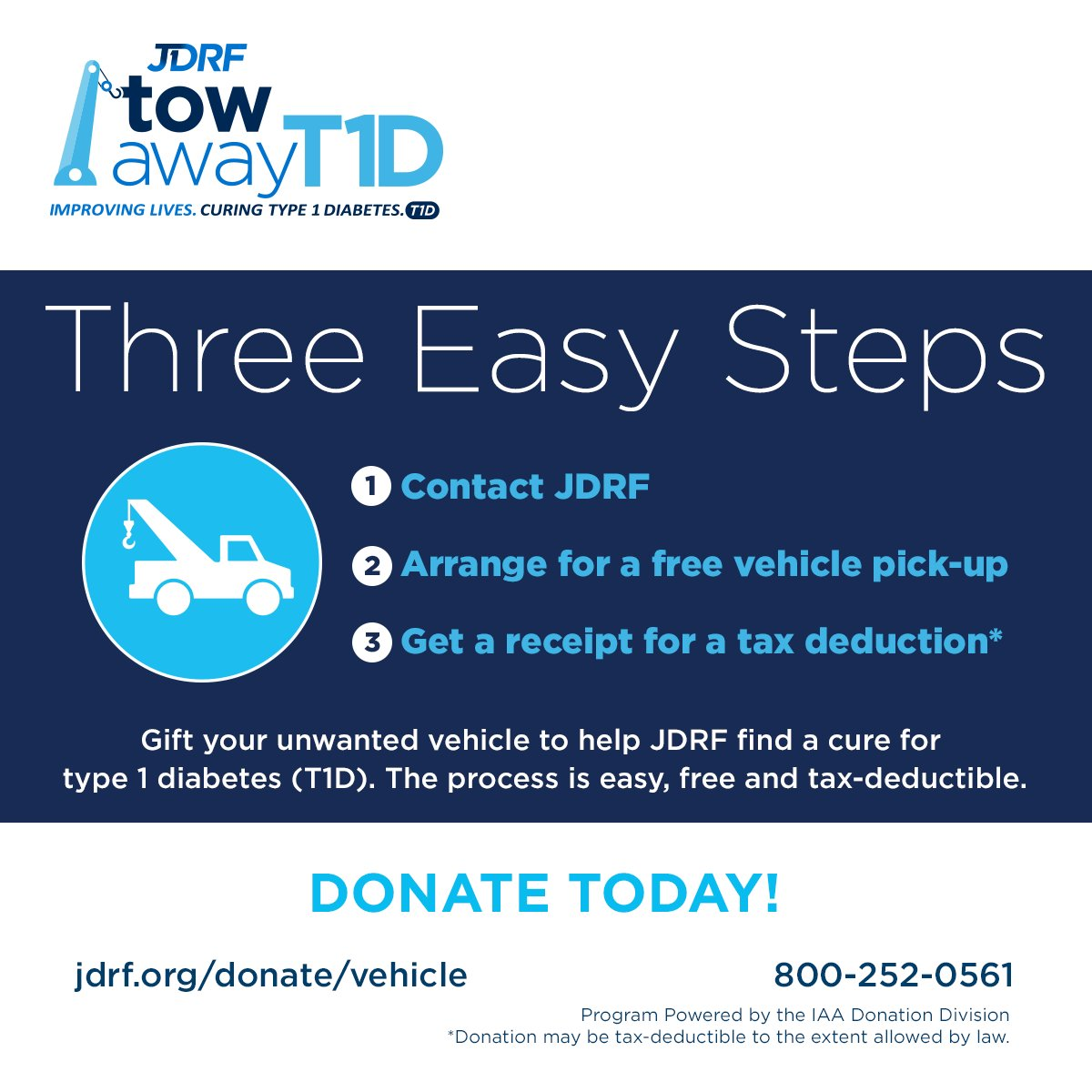 e16da4977 Not only will your donation help fund T1D research, AND it also may be  tax-deductible! #TowAwayT1Dpic.twitter.com/JpKqUZwaM9