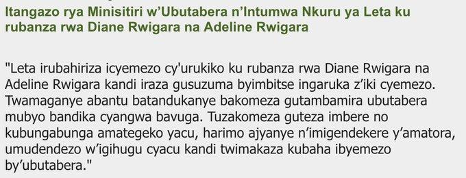 Itangazo rya Minisitiri w'Ubutabera n'Intumwa Nkuru ya Leta ku rubanza rwa Diane Rwigara na Adeline Rwigara Photo