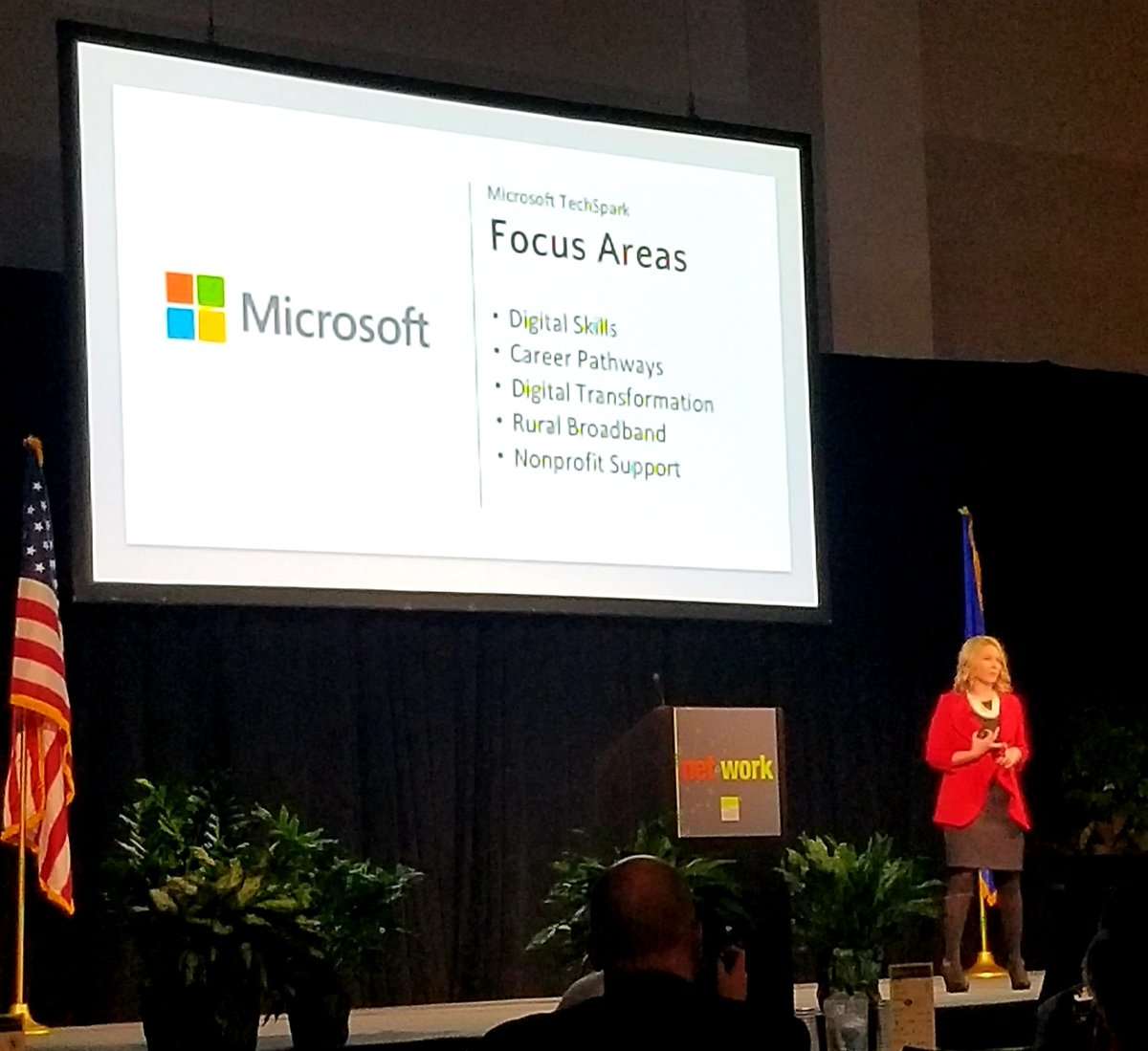 TechSpark Wisconsin @Microsoft @micschuler and fellow @UWWhitewater grad speaking at @TheNewNorth #nnsummit18 about the technology workforce and transformation in the region. <br>http://pic.twitter.com/a35S6sANwT