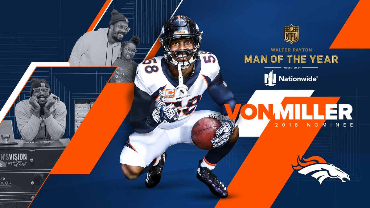 We're proud to announce that @VonMiller is our 2018 Walter Payton Man of the Year nominee.   Retweet to join us in congratulating him on this tremendous honor!  #WPMOY  | #BeAChampion<br>http://pic.twitter.com/rzxS5xxIa7