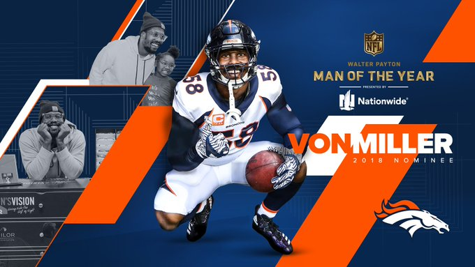 We're proud to announce that @VonMiller is our 2018 Walter Payton Man of the Year nominee. Retweet to join us in congratulating him on this tremendous honor! #WPMOY   #BeAChampion Photo