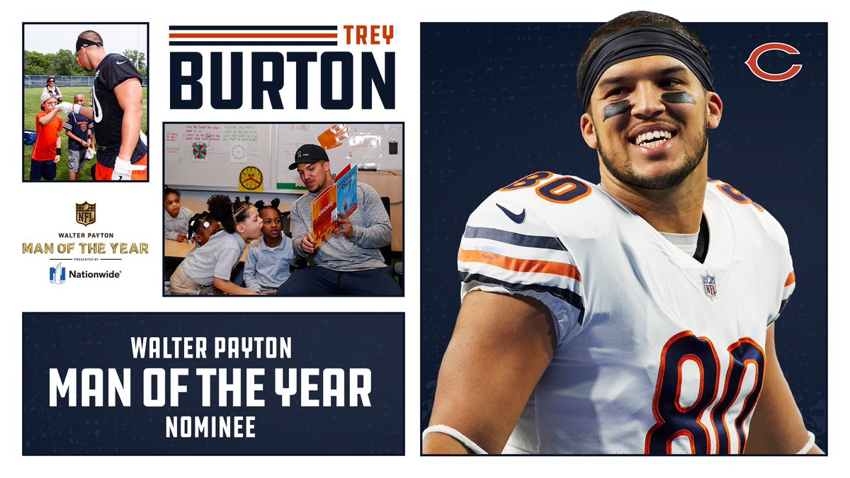 Congrats to @TreyBurton8 on being #DaBears  Walter Payton Man of the Year nominee! Well-deserved, #80.    @Nationwide | #WPMOY <br>http://pic.twitter.com/avfb7k7qrT