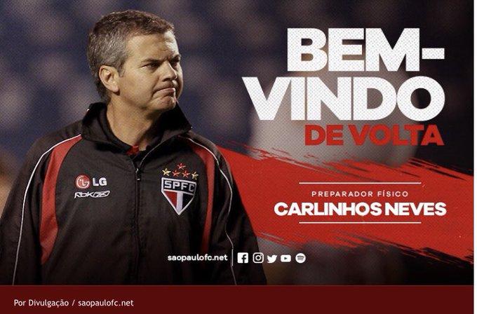 São Paulo anunciou a volta do preparador físico Carlinhos Neves. Ele fará parte da comissão fixa do clube. Seu último trabalho foi no Santos, com Cuca #trcentral Photo