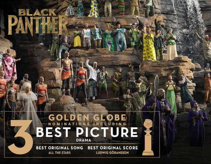 Marvel Studios' Black Panther has been nominated for 3 Golden Globe Awards, including Best Picture! #GoldenGlobes Photo