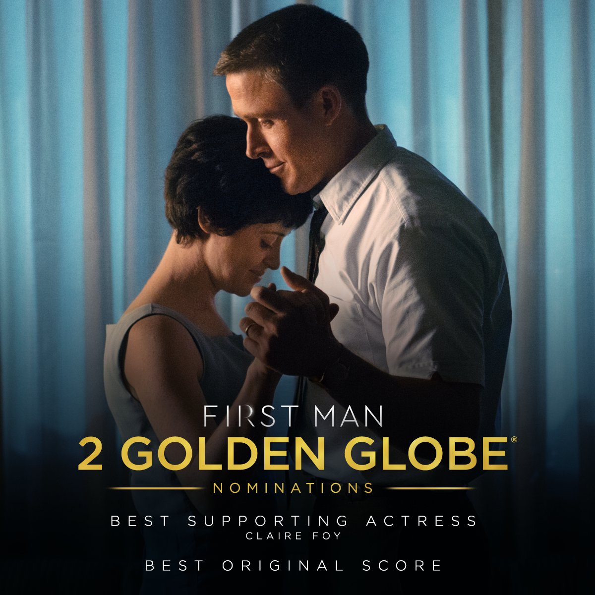 #FirstMan has been nominated for 2 #GoldenGlobes including Best Supporting Actress - Claire Foy and Best Original Score - Justin Hurwitz.