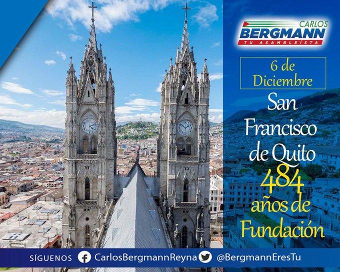Hoy celebramos 484 años de fundación de nuestra querida capital del Ecuador 🇪🇨👏🏼. Festejamos a la carita de Dios que ¡ #VivaQuito ! Ciudad inmortal ¡Felicidades! #TrabajamosPorEcuador Photo
