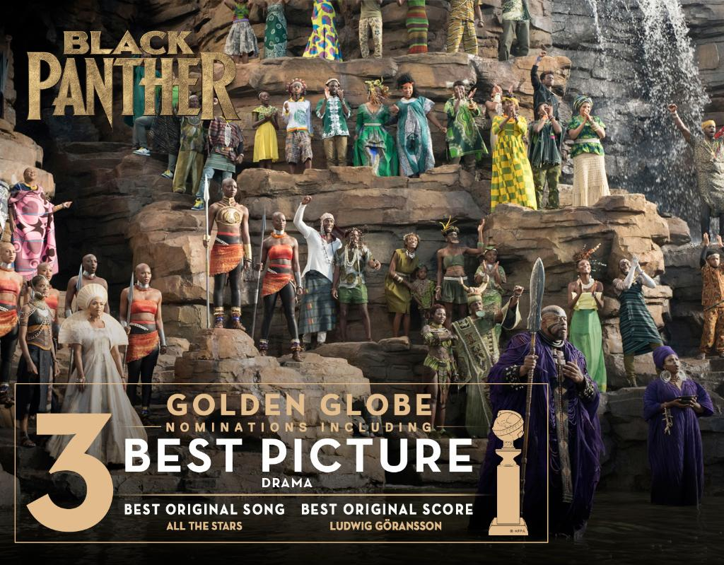 Marvel Studios' #BlackPanther has been nominated for three Golden Globe Awards, including Best Picture! #GoldenGlobes