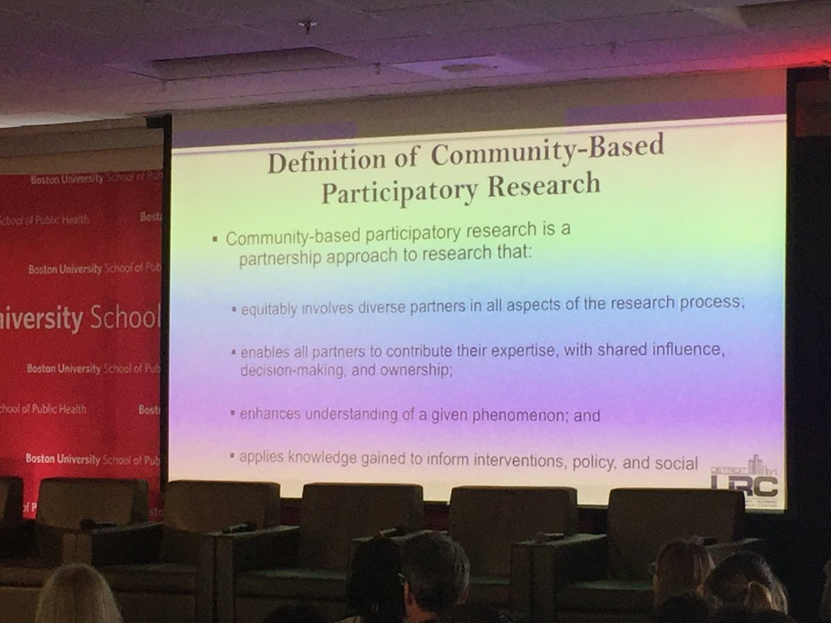 If you want foundational principles for city/university collab look no further than definition of community based participatory research. Not just for health or social work-these principles should underly any research designed for urban impact. Trust &amp; respect key #BUSPHSymposia <br>http://pic.twitter.com/aUnLkJBPi9