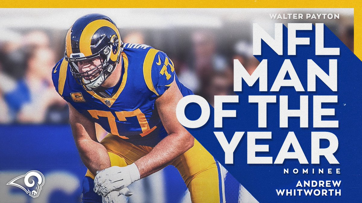 An All-Pro on the field + in the community.   The #LARams  are proud to name @awhitworth77 our Walter Payton NFL Man of the Year nominee.  #WPMOY   »  http:// gora.ms/1drpHY  &nbsp;  <br>http://pic.twitter.com/eWkzu5I8ls