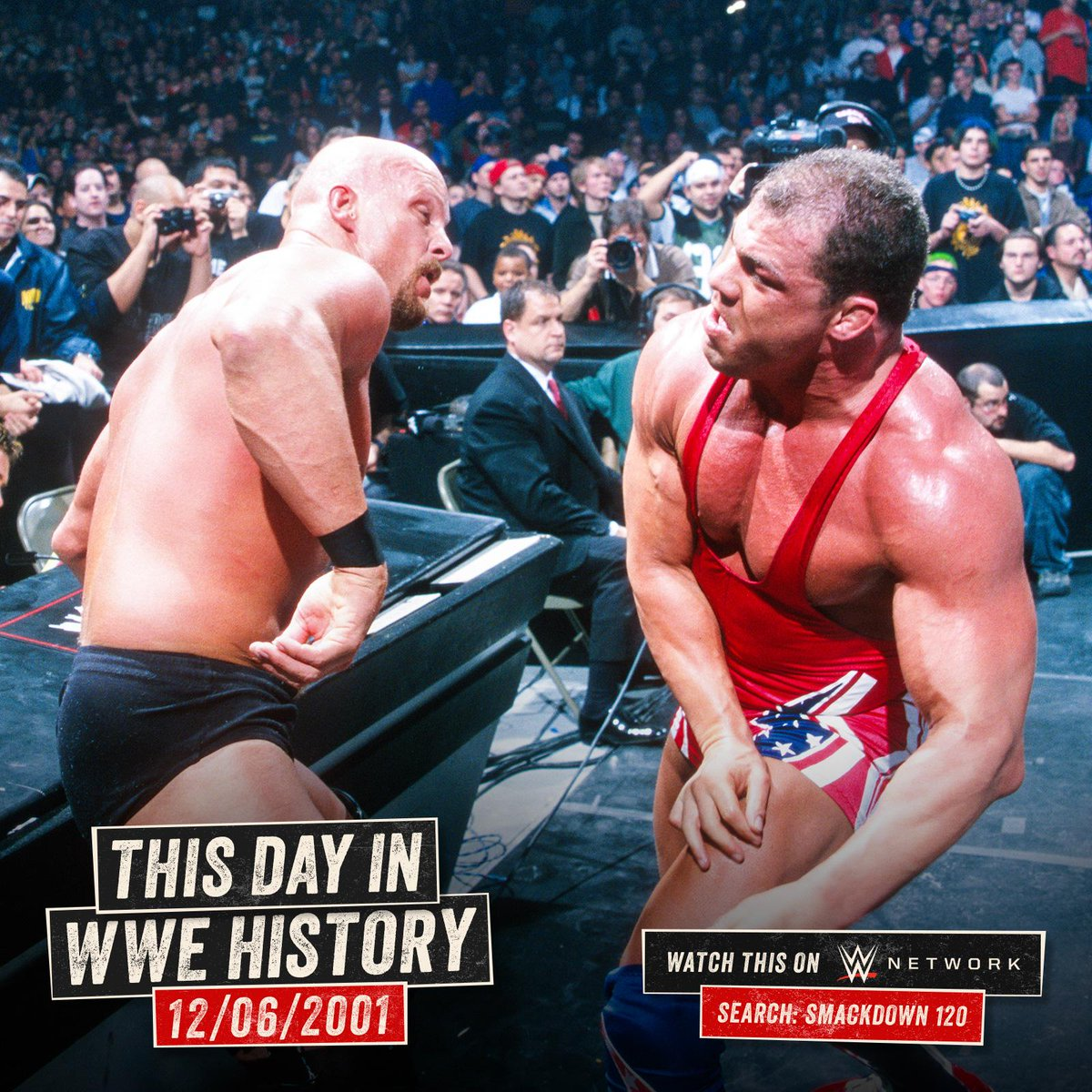 .@steveaustinBSR & @TheRock were on the same page on this day in 2001 when they took on @RealKurtAngle & @IAmJericho on #SmackDown! wwe.me/mibY2b