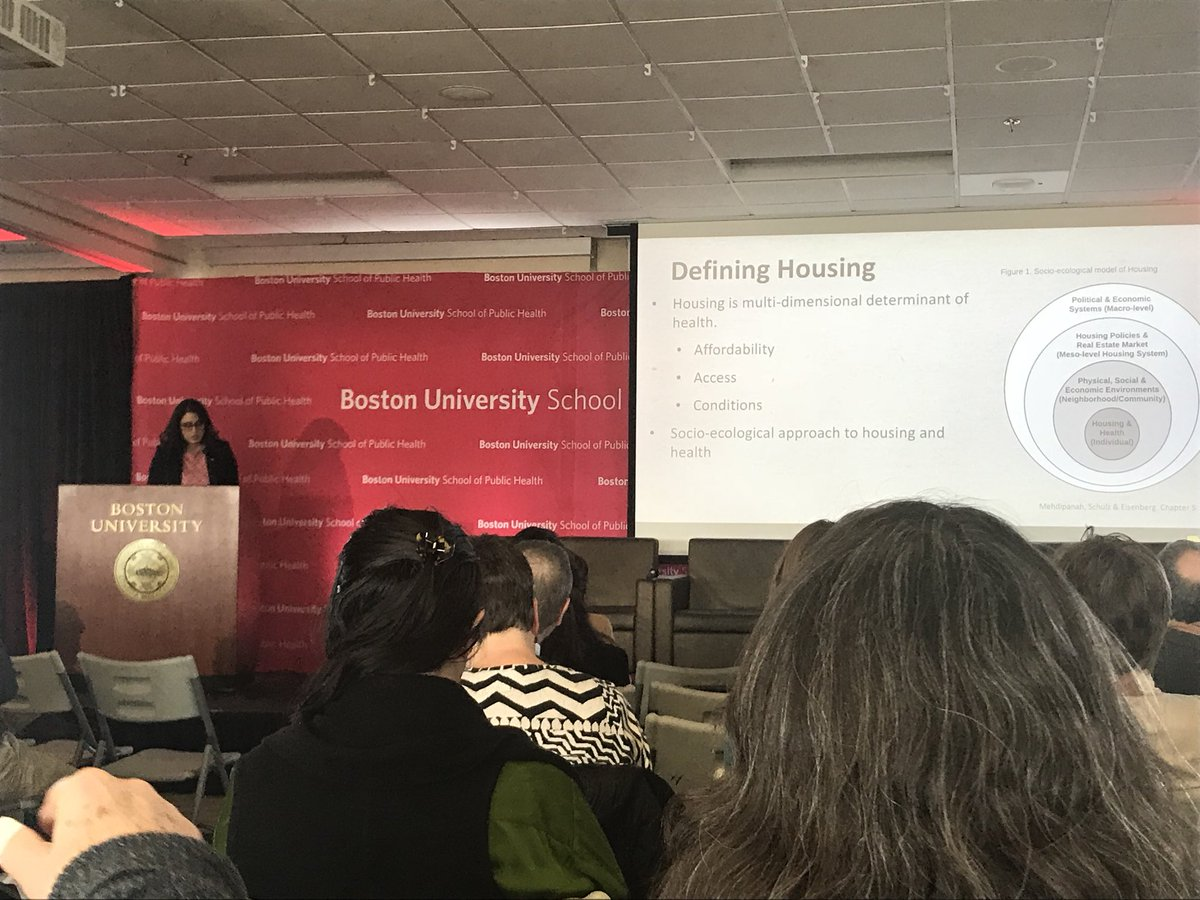 Great talk by @rmehdipa framing the numerous levels at which housing can influence health - affordability crises have numerous ripple effects #BUSPHSymposia @CRESSH_Mass<br>http://pic.twitter.com/c5CJpzW6Ty