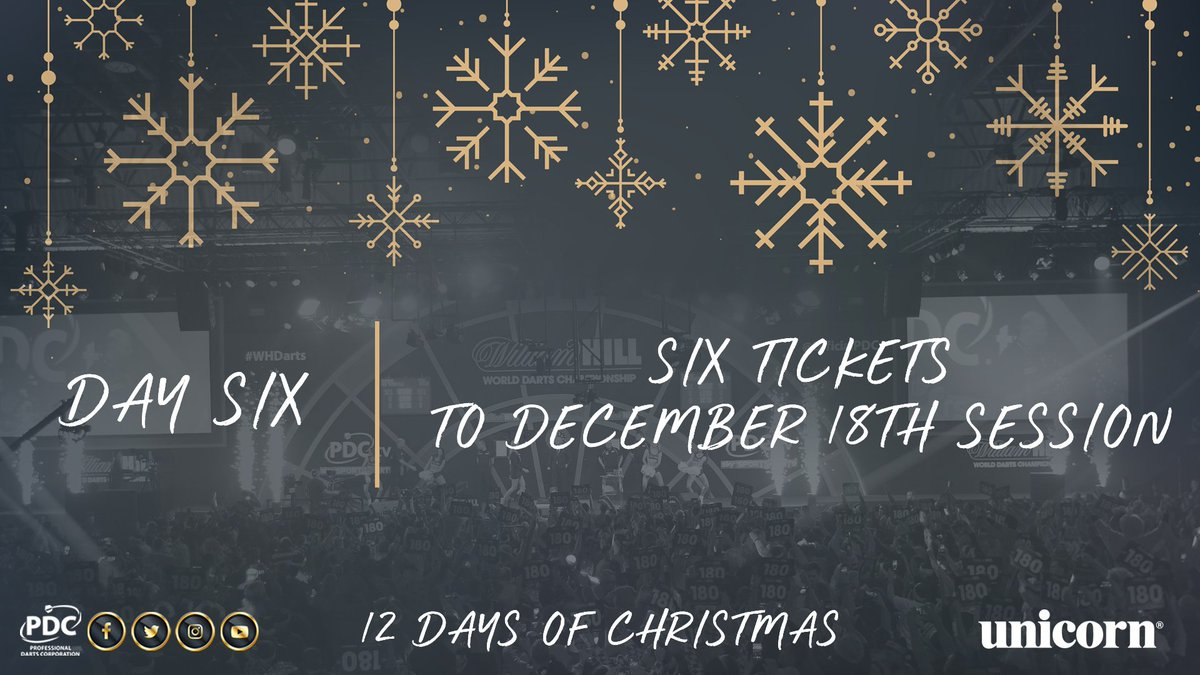 Day Six!  Be the hero amongst your mates and win six tickets for your group to the December 18th afternoon session!   Simply RT to win to be in with a chance  #PDC12DaysOfChristmas https://t.co/EO75KVhz6G
