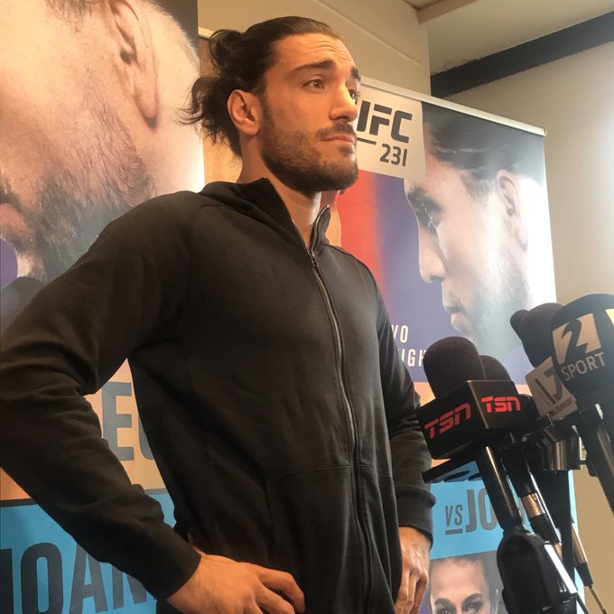 "Mr. @EliasTheodorou is here now. He says he was denied a TUE from USADA for marijuana: ""It's an outdated mentality."" #UFC231 Photo"