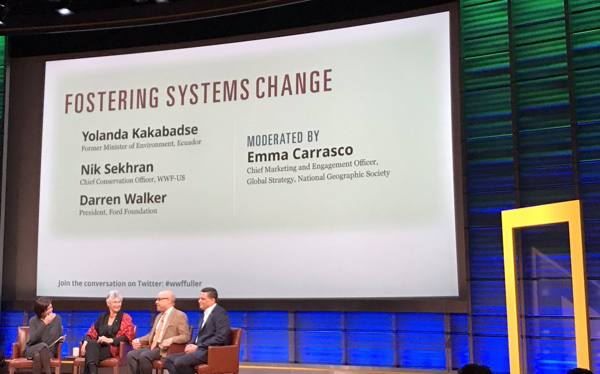 Fantastic observation by @niksekhran at #wwffuller @NatGeo today making me rethink #marinedebris and #ocean #conservation strategy: @UN #SDGs were designed to be interdependent, addressing issues systemically. Problem: the NGOs working on them usually have a single-issue focus.<br>http://pic.twitter.com/N0GnVCrAeG &ndash; à National Geographic Grosvenor Auditorium