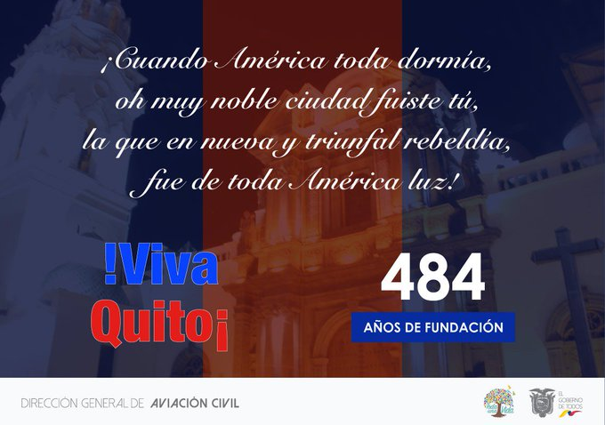 La Dirección General de Aviación Civil saluda a Quito la Carita de Dios por su 484 años de Fundación #VivaQuito #FiestasUIO 🎉💙 ❤️ 🎇 Photo