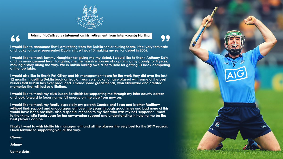 test Twitter Media - A devoted member of the Dublin senior Hurling team for more than a decade, @Johnnymc11 has now decided to retire from inter-county hurling. We thank him for his hard-work & dedication in the Dublin jersey, and we wish him all the best in the years to come 👏💙#UpTheDubs https://t.co/gzX1qQ3wgt