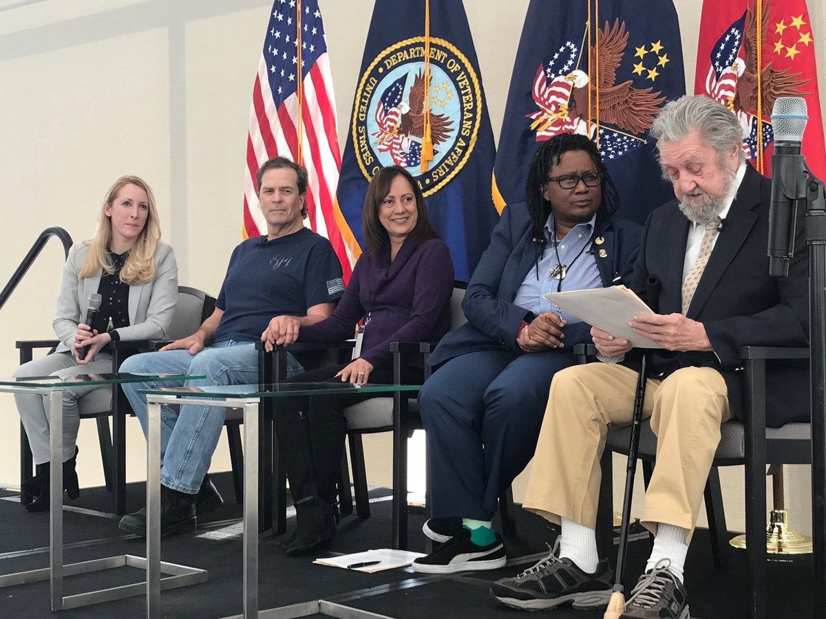 Listening to an amazing panel of courageous Veterans and their care givers talking about the amazing empowerment of virtual health in their care and lives.  #A2ATelehealth ⁦@VAPartnerships⁩ ⁦@DeptVetAffairs⁩ ⁦@VeteransHealth⁩<br>http://pic.twitter.com/8M1Od1dEta