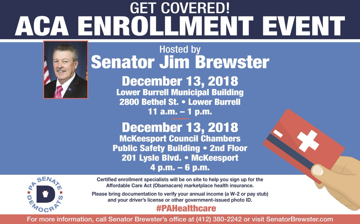 My #ACA Enrollment Events are this Thursday, December 13 in Lower Burrell and McKeesport. Don&#39;t miss this opportunity to sign up for health care through the Affordable Care Act. <br>http://pic.twitter.com/jgqMtSC9O6